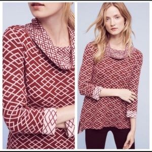 MOTH CRANBERRY & WHITE COWLNECK 3/4 SLEEVE SWEATER